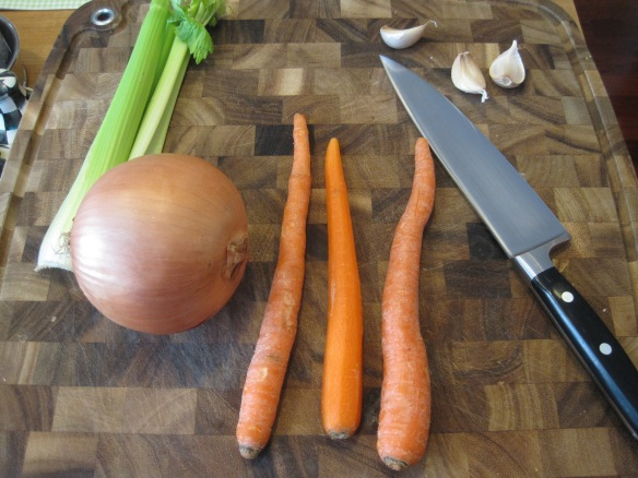 I don't know why I need to show a photo every time, but I do.  This is carrots, celery, onion, and garlic
