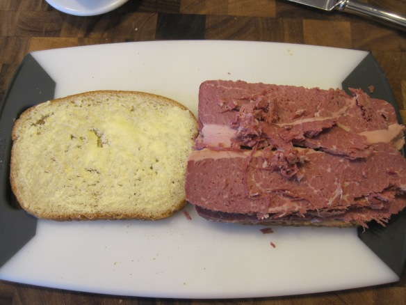 The container of corned beef had an extremely unfortunate aroma when opened but it went away shortly after opening.  No idea why it happened, but it wasn't a smell I like associated with my food.  I guess that's what happens when you pickle beef