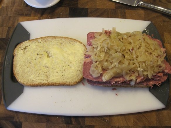 I had some sauerkraut in my fridge in a tupperware that I tasted before buying some for this.  Tasted fine, so I used it on all reubens made in the following days.  I recently realized it was leftover from an Oktoberfest party last fall.  Sooo, yeah, turns out that stuff doesn't go bad quickly