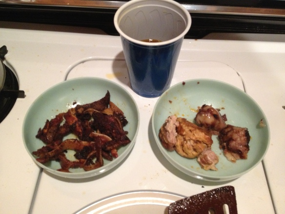 fried ears on left, cup of fat in the middle, brains and eyes on the right.  That bowl on the right had nothing good going on, I've learned that pork is not the mildest eating brains and eyes and didn't touch this set.  Still left it out so someone else could make the same mistake I've made (and they did)