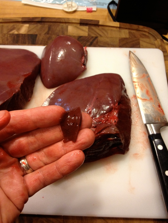 You don't cut a piece that small unless you plan to sample it.  Yes, that is a sample sized piece of raw deer liver